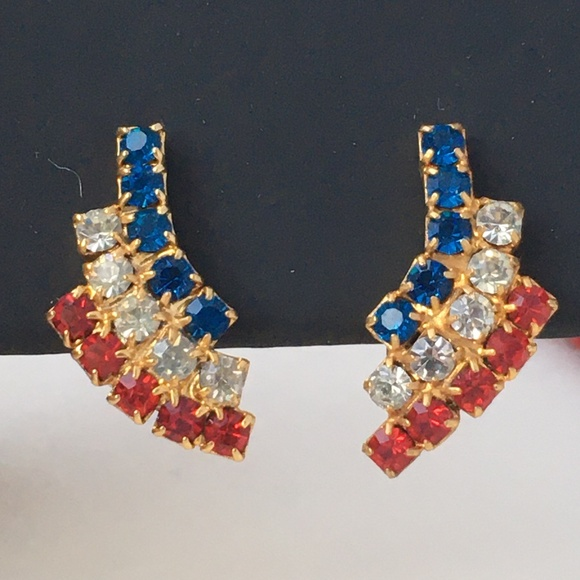Vintage Red White & Blue American Clip Earrings